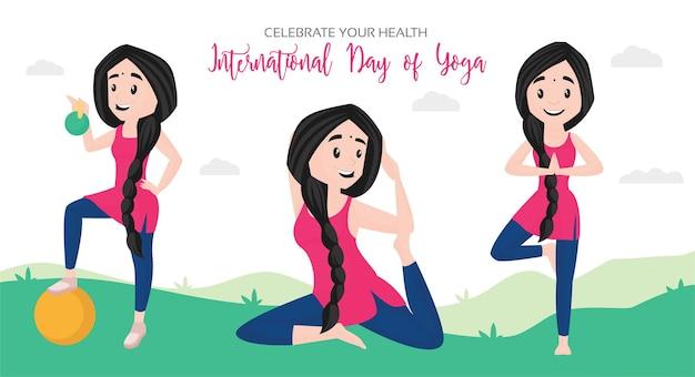 Internationale dag van yoga viert de ontwerpsjabloon van uw gezondheidsbanner