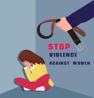 Internationale dag voor de uitbanning van geweld tegen vrouwen. huiselijk geweld. vector