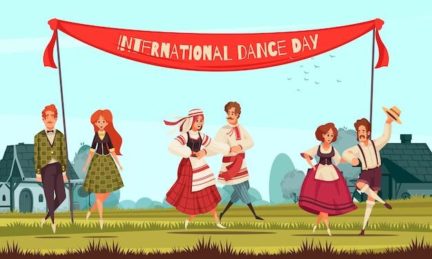 Internationale dansdag met een groep mensen in verschillende nationale kostuums die buiten dansen in landelijke stijlillustratie style