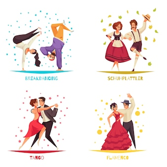 Internationale dansdag. set van breakdancing, flamenco en tango composities