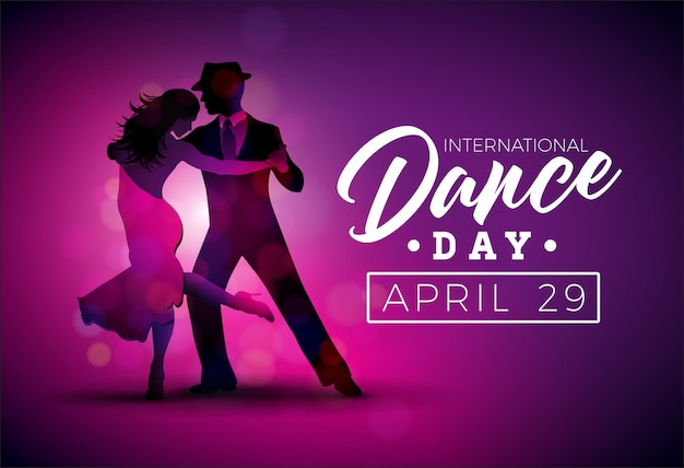 Internationale dansdag vectorillustratie met tango dansende paar op paarse achtergrond