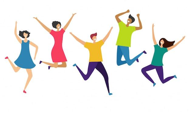 Internationale gelukkige mensen karakters geïsoleerd op een witte achtergrond. springende en vliegende mensen