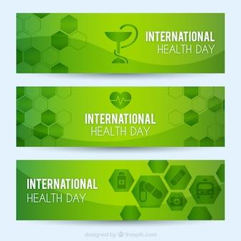 Internationale gezondheid dag groene banners met zeshoeken
