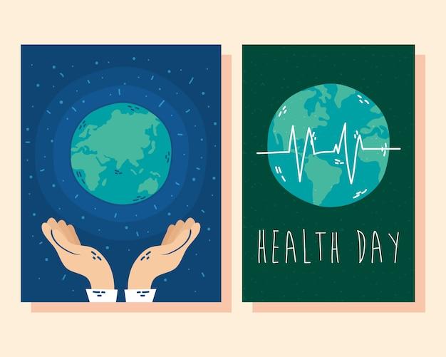 Internationale gezondheidsdagkaart met planeet aarde en cardiologie-puls Premium Vector