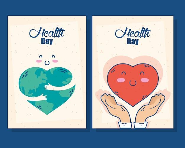 Internationale gezondheidsdagkaart met planeet aarde en hart