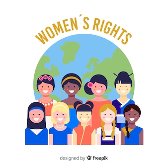 Internationale groep vrouwen met een plat ontwerp