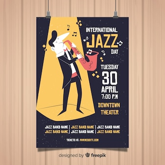 Internationale jazz dag poster sjabloon