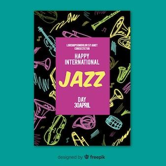 Internationale jazz dag poster sjabloon