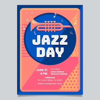 Internationale jazzdag flyer-sjabloon in platte ontwerp