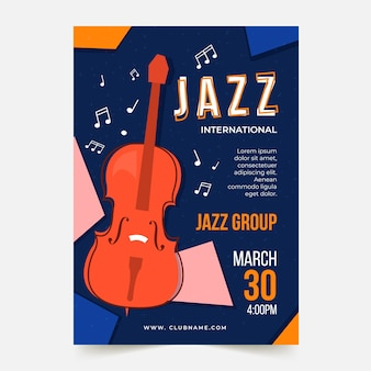 Internationale jazzdag flyer-sjabloon in platte ontwerp