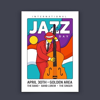 Internationale jazzdag geïllustreerde poster