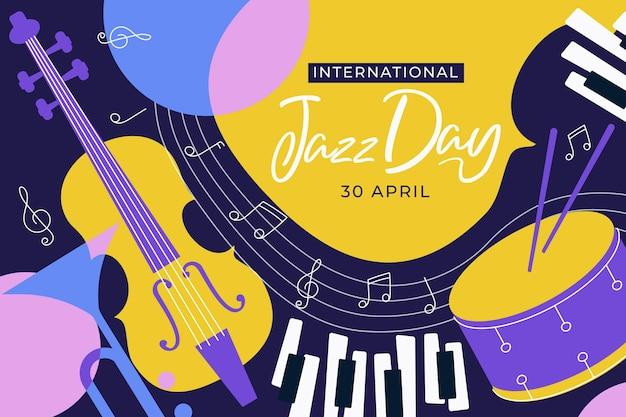 Internationale jazzdag illustratie met muziekinstrumenten