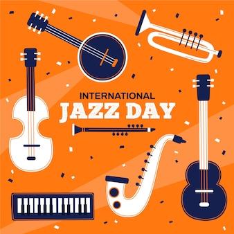 Internationale jazzdag in plat design