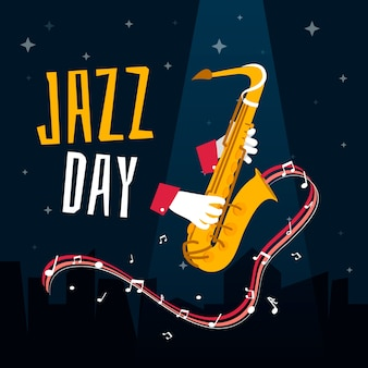 Internationale jazzdag in plat design