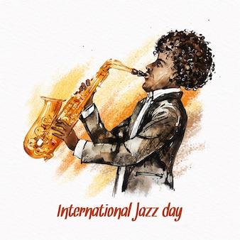 Internationale jazzdag met aquarel man saxofoon spelen