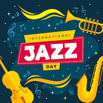 Internationale jazzdag met plat ontwerp