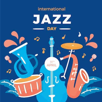 Internationale jazzdag met plat ontwerp