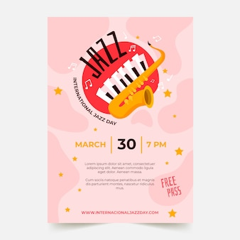 Internationale jazzdag poster sjabloon in platte ontwerp