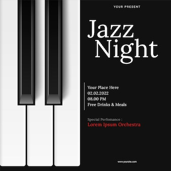 Internationale jazzdag poster sjabloon met piano
