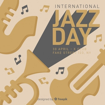 Internationale jazzdag retro vintage flyer / poster