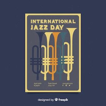 Internationale jazzdag retro vintage flyer / poster