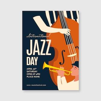Internationale jazzdag sjabloon voor poster