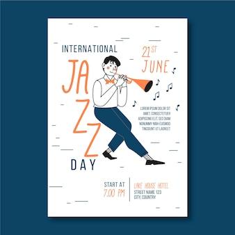 Internationale jazzdag verticale poster sjabloon met man en trompet