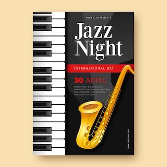 Internationale jazzdag verticale poster sjabloon met saxofoon en piano toetsen