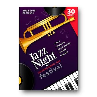 Internationale jazzdag verticale poster sjabloon met trompet en piano toetsen