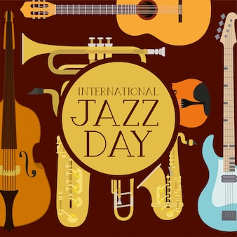 Internationale jazzdagaffiche met instrumenten