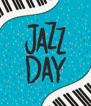 Internationale jazzdagaffiche met pianotoetsenbord