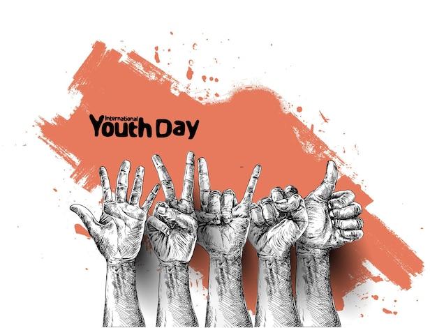 Internationale jeugddag 12 augustus handgetekende schets vectorillustratie