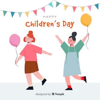 Internationale kinderen dag hand getrokken illustratie