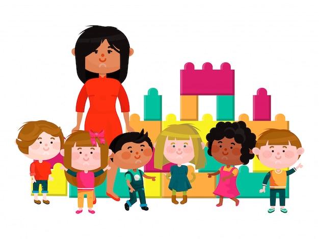 Internationale kleuterschool, interetnische karakter mannelijke vrouwelijke jongen vrolijk speeltijd geïsoleerd op wit, illustraion.