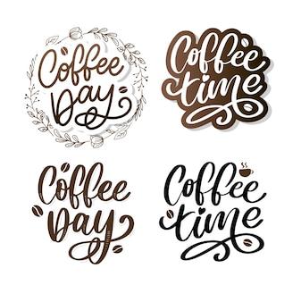 Internationale koffiedag belettering met koffiebonen.