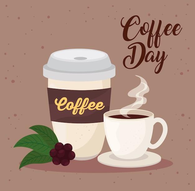 Internationale koffiedag poster, 1 oktober, met keramische beker en wegwerp illustratie ontwerp