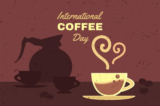 Internationale koffiedag reclamebanner vector. beker met aromatische energie warme drank, geroosterde boon en pot met gebrouwen drank. mok met heerlijke espresso platte cartoonillustratie