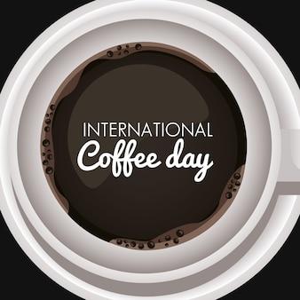 Internationale koffiedagviering met kop en belettering luchtmening