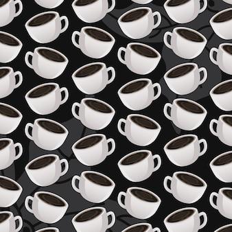 Internationale koffiedagviering met kopjespatroon
