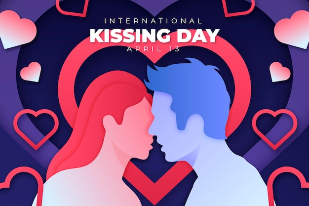 Internationale kussende dag illustratie in papieren stijl