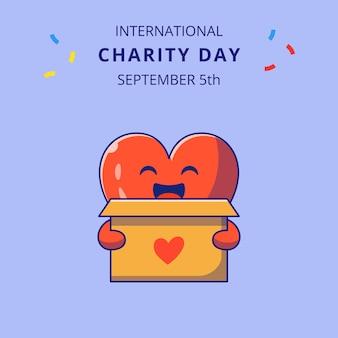 Internationale liefdadigheidsdag met schattig hart holding box voor donaties cartoon tekens illustratie.