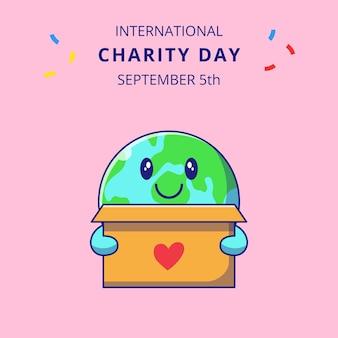 Internationale liefdadigheidsdag met schattige aarde holding box voor donaties cartoon tekens illustratie.
