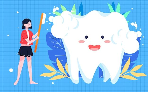 Internationale liefde tand dag poetsen illustratie tandheelkundige gezondheid mondreiniging poster