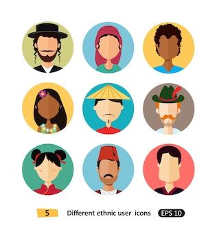 Internationale man en vrouw mensen avatar pictogram gekleed in nationale kleding