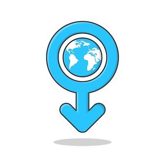 Internationale mannendag symbool vector pictogram illustratie. mannelijk geslachtssymbool met platte aardepictogram