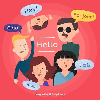 Internationale mensen die verschillende talen spreken