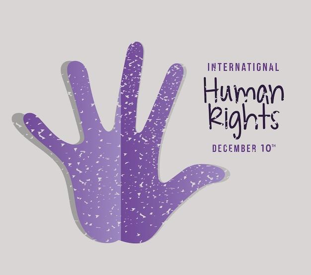 Internationale mensenrechten en paars handafdrukontwerp, thema van 10 december.