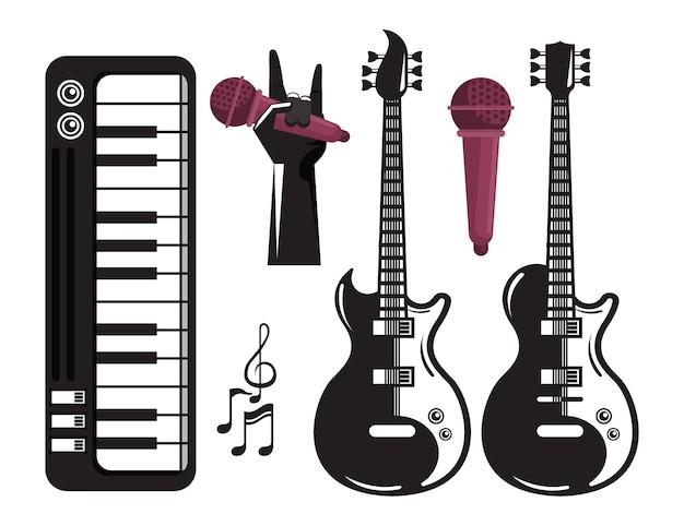 Internationale muziekfestivalaffiche met elektrische gitaren en reeks pictogrammen
