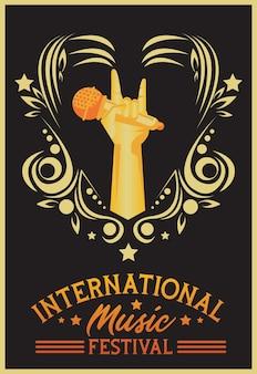 Internationale muziekfestivalaffiche met hand opheffende microfoon op zwarte achtergrond