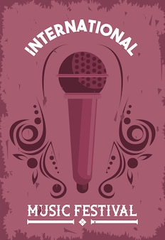 Internationale muziekfestivalaffiche met microfoon